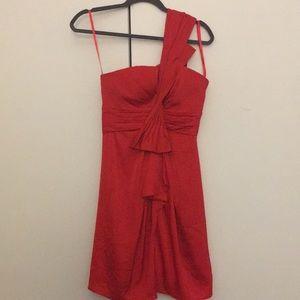 BCBG Red One-Shoulder Cocktail Dress